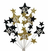 Star age 40th birthday cake topper decoration in black and gold - free postage